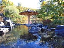 【夏の露天風呂(瑠璃の湯)】源泉掛流しで熱湯とぬる湯を交互に楽しめる。眼下には美しい湖を望めます。