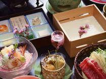 豆腐懐石「春」自家製豆腐など春の味覚を楽しむ料理。