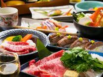 ■特選和牛会席■お魚料理と共に美味しいお肉を炙り寿司、陶板ミニステーキ、牛すき鍋の3種の食べ方で♪