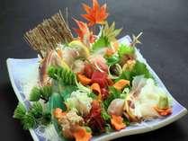 *【夕食一例】地魚の美味しさを知り尽くした板長が、その日水揚げされた中から厳選してお造りにします