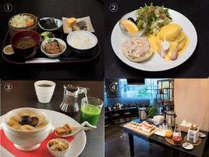 【(1)】和定食【(2)】エッグベネディクト【(3)】ヨーグルトで食べるフルーツグラノーラ【(4)】おかわりコーナー