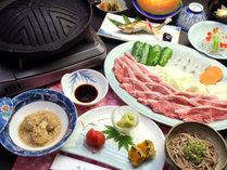 【ご夕食一例】ジンギスカン。山形県の食材を使った、手作り中心の素朴な郷土料理の数々。