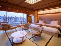 【露天風呂付/和モダンスイート】川側最上階64平米◆禁煙◆