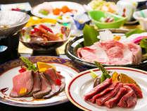 【県内産牛会席】3種の料理で3つのうまさを堪能!牛肉のおいしさを様々な調理で味わう会席。