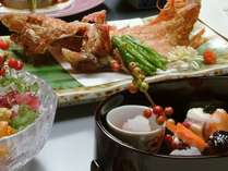当館名物キンキの唐揚げ+前菜