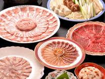 【夕食一例】薩摩しゃぶ三昧。黒毛和牛・黒豚・黒さつま鶏・カンパチの4種をしゃぶしゃぶでどうぞ♪