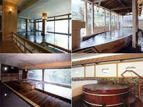 大江戸浮世風呂、屋形船風呂、古代檜風呂、樽風呂の写真