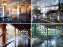 大江戸浮世風呂、檜風呂と樽風呂、屋形船風呂、露天風呂の写真