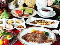 【ご夕食一例-サーロインステーキ】前沢牛のサーロインステーキと、地元の食材をふんだんに使用したコース