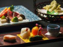 如月御献立:前菜、揚物、洋皿一例