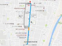 当館からまねきの湯まで車で約3分☆徒歩で約13分☆