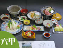 【六甲会席(一例)】小食の方でも無理なく食べられる季節の会席です。