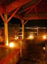 露天風呂と地酒風呂から諏訪湖の夜景を眺める