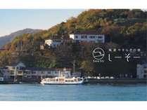 日本一短い航路の渡船で3分間の船旅をお楽しみ下さい。