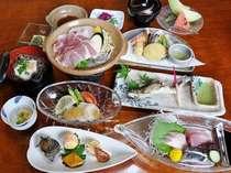 新鮮な海の幸を使った会席料理(例)