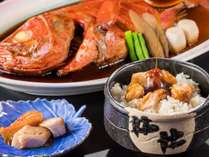 金目鯛の煮汁をごはんにかけて、名物【いなとり荘めし】。ぜひお召し上がりください