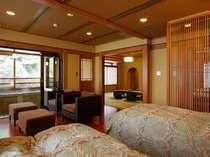雅suite~露天風呂付き客室 和洋室24平米+和室10畳~ ※新緑の香りの中、源泉100%掛流の三朝の湯を堪能。