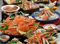 【蟹づくし会席】 とにかく「蟹」を楽しみたい方にオススメ♪※写真の茹で蟹、蟹すきは2名盛り