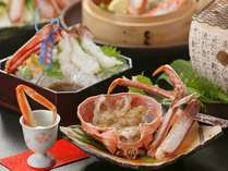 本松葉蟹の会席料理イメージ写真。