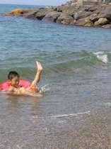 夏の海水浴 泳いだ後は家族風呂へ