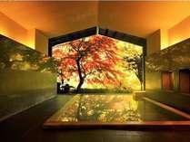 【大浴場】半露天の大浴場からは美しい紅葉を望める。寛ぎながら湯浴みを愉しんで