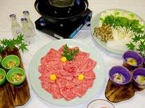 【和牛焼しゃぶ鍋コース一例】特選の和牛は焼いてもOK、しゃぶしゃぶもOK!一度に二度おいしい♪