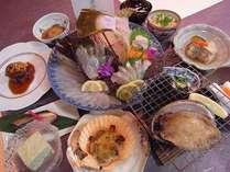 あわび踊り焼・鮃姿造り・熊本産黒毛和牛ステーキ会席料理一例