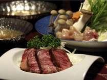 宮崎牛と小林産若鶏のお料理の一例です。季節によって様々なお料理で宮崎牛をお楽しみいただけます。
