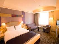 【モデレートダブルルーム】約27平米の客室に幅1600mmのベッド(3名でもご利用可能/眺望:隅田川側)
