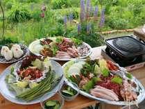 【BBQ】地元の野菜やお肉を贅沢に盛り付けた当麻流バーベキュー♪