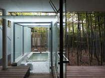 露天風呂から眺める竹林の景色はまさに幻想的(すずらん・はまなす)