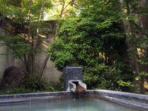 新緑に包まれながら源泉掛け流しの露天風呂をご堪能ください。
