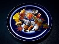 【秋の献立】旬菜 標津産いくら 大根 マスカルポーネ 里芋 穴子の蒸し煮 太刀魚 他