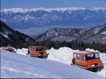 雪上車で大雪原やアルプスの展望を楽しむプラン