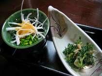 芹胡麻和え・独活菜の花酢味噌かけ
