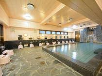 温泉大浴場【一豊の湯】鉱石泉仕様にしています。サウナも併設されています。