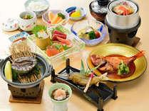 活あわびの踊り焼きが付いた和食会席膳2015.11
