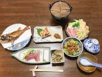 【夕食一例】壱岐のお刺身など魚料理中心の和定食