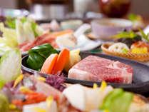 特選牛ステーキ会席 (例)ジューシーなお肉とお刺身どちらもおいしい!!