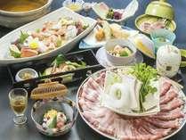 <ぶんご旬会席料理/一例>金豚のしゃぶしゃぶや新鮮なお刺身をお楽しみいただけます。