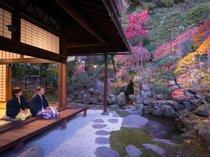 上段の間より林泉式庭園を眺む