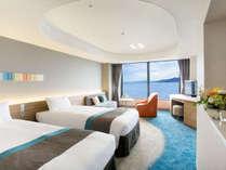 21~31Fのスカイフロア ツイン。36.2平米の広さのお部屋は最大4名さまでご利用いただけます。