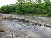 「桂の湯」渓流を眺めつつ浸かる源泉100%掛け流しの内湯付露天風呂(写真:男湯小露天風呂)