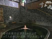 日本一深い自噴岩風呂「白猿の湯」生たての源泉が湯底から湧き出ています。