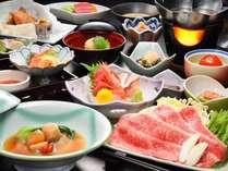 【お勧め膳・グレードアップA5岩手牛しゃぶしゃぶorすき焼き付】肉厚のフカヒレとの豪華饗宴