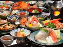 こだわり膳お料理(例)地物「減農薬野菜と米」山菜・きのこ、世界三大漁場「三陸」の海の幸が並ぶ