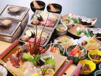 伊勢海老の造り♪ 活あわびの踊り焼き♪千屋牛ステーキ♪ ズワイ蟹酢♪ 握り寿司に細巻き等など♪