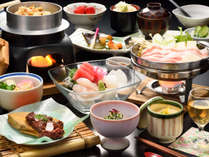 *【夕食例】新鮮な宮城の海・山の幸を使用した、目にも鮮やかな和会席。