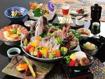 鯛料理コース(一例)。お造りを始め、新鮮な鯛をたくさん使ったお料理を堪能!