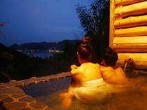 露天風呂からの海、山の景色は抜群です。カップル、グループにて貸切りでご利用下さい。